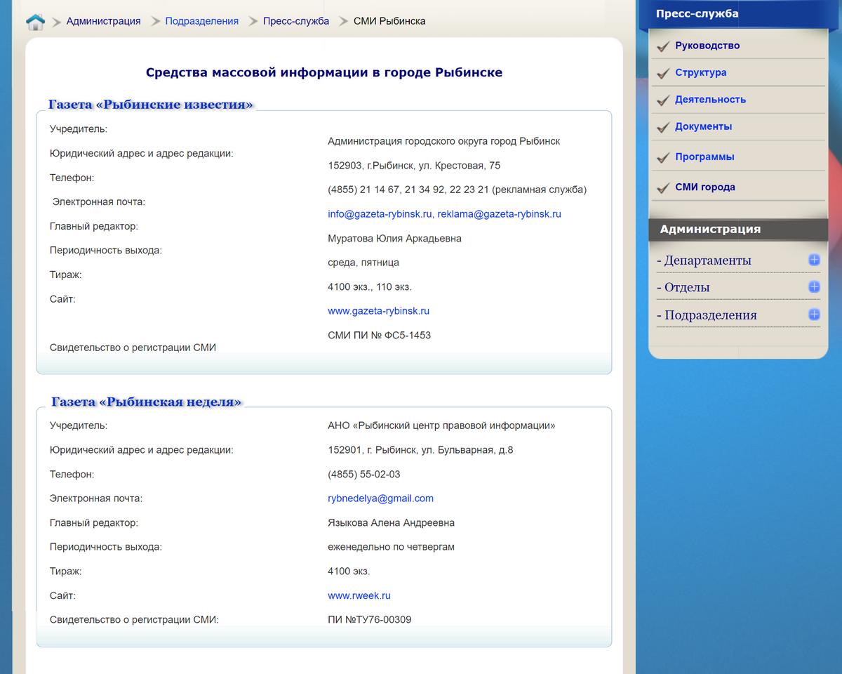 Информацию о тиражах СМИ можно взять на официальных сайтах или на сайте администрации города