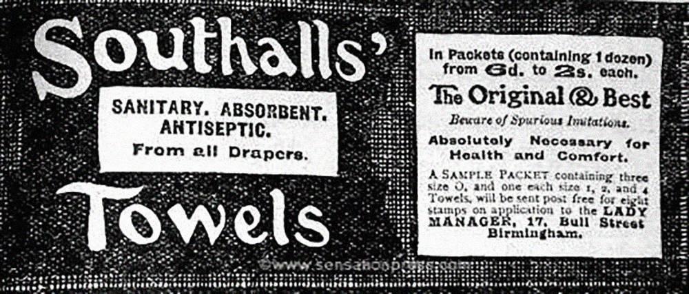 Вырезка из журнала 1913года. Врекламе говорится, чтопрокладки абсолютно необходимы дляздоровья икомфорта. Источник: mum.org