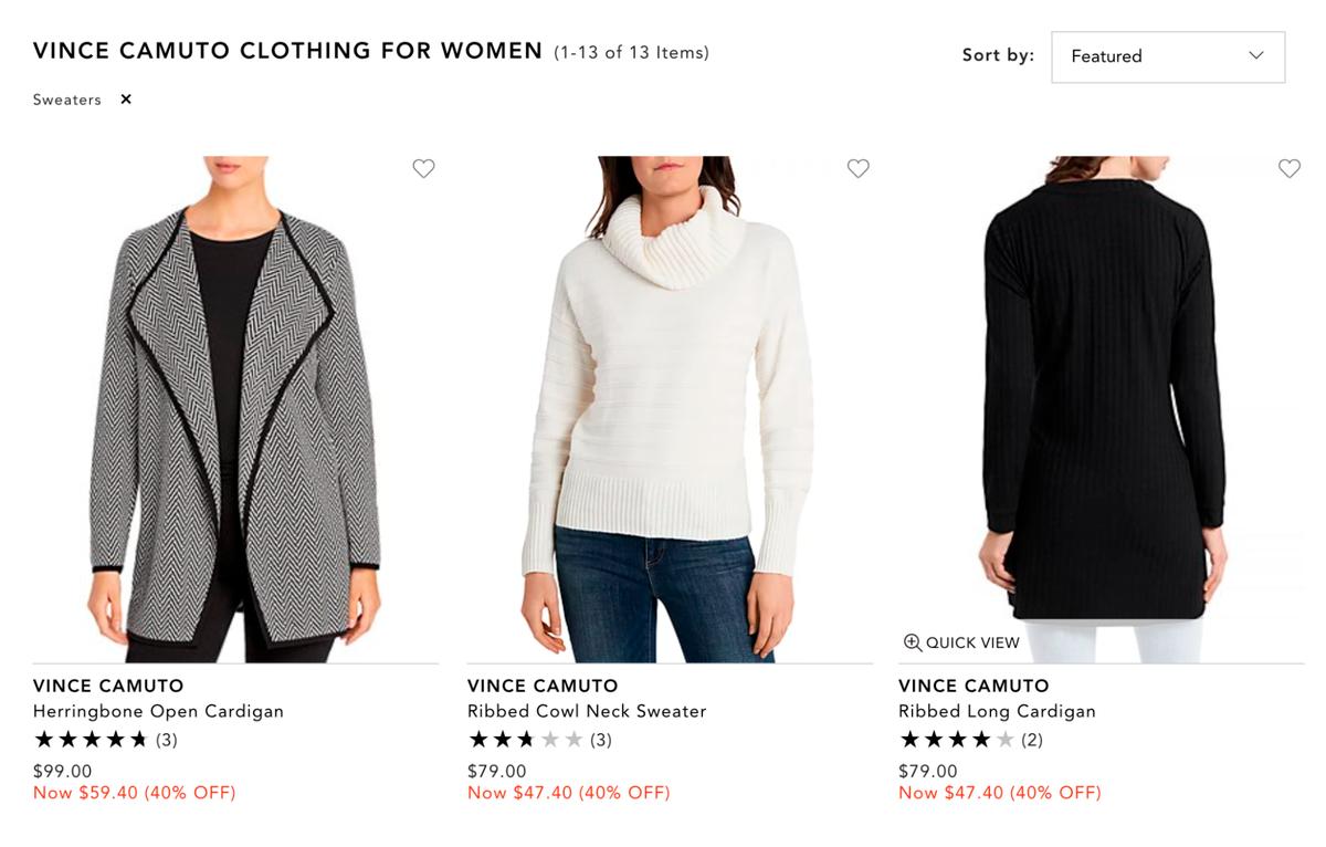 В среднем свитера из новых коллекций Vince Camuto или DKNY стоят около 70—100$. Но я отказываюсь столько платить за свитер