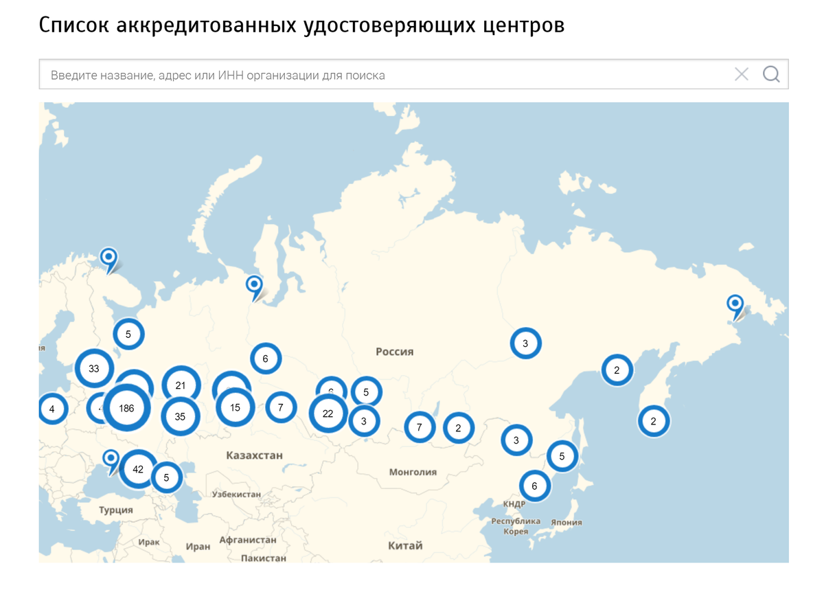 Аккредитованные центры на сайте Министерства цифрового развития РФ