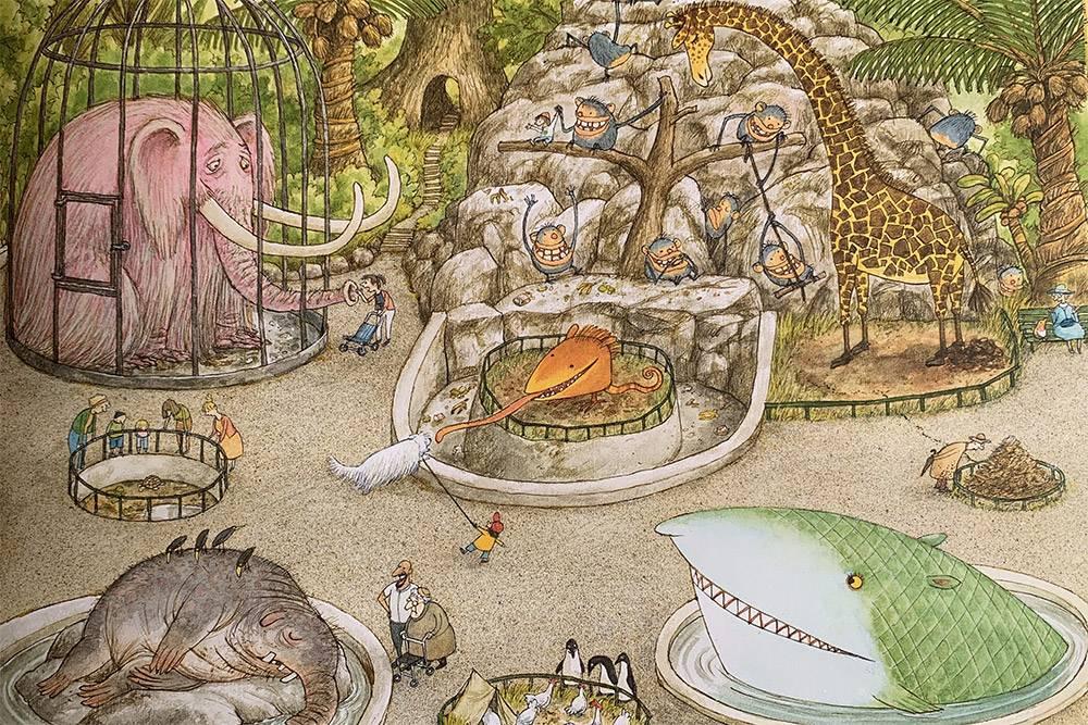 В «Прогулке» Свена Нурдквиста нет слов: только замысловатые картинки, которые могут сложиться во множество разных сюжетов, которые придумают читатели. Купить такую книгу можно на «Озоне» за 542<span class=ruble>Р</span>