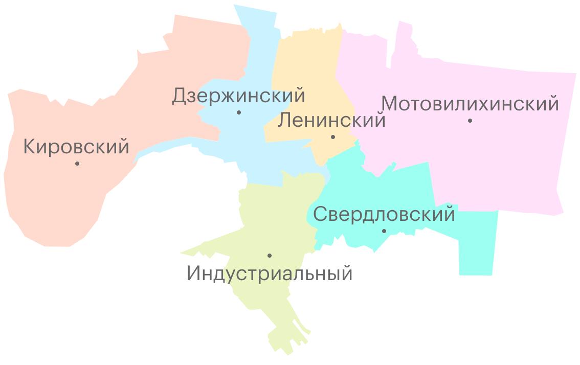 Карта районов Перми