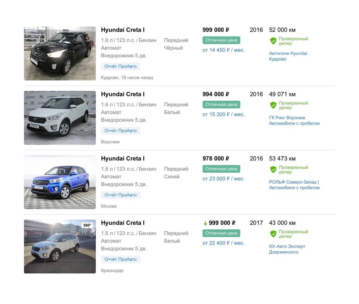 Цены на близкие к моим параметрам авто на сайте «Авто-ру»