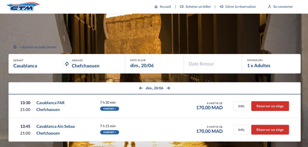 Билет на рейс из Касабланки в Шефшауэн на 20 июня 2021&nbsp;года стоит 170&nbsp;Dh (1403<span class=ruble>Р</span>). Время в пути — 7,5 часа. Источник: ctm.ma