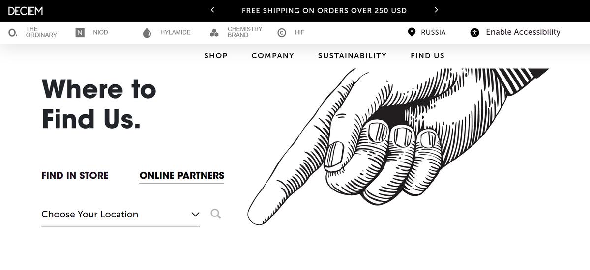 На сайте канадского производителя Deciem, которому принадлежит бренд бюджетной косметики TheOrdinary, есть список онлайн-магазинов, где официально продается их косметика