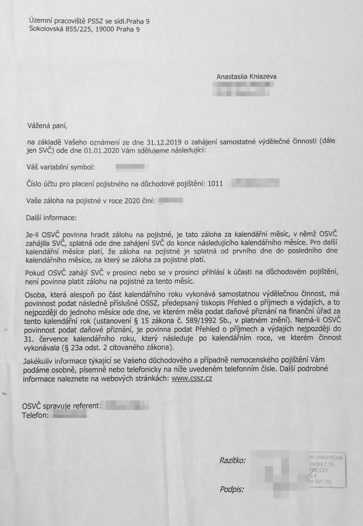 Письмо Департамента социального обеспечения с размером отчислений длясоциального страхования — 2544Kč и номером счета, куда переводить деньги