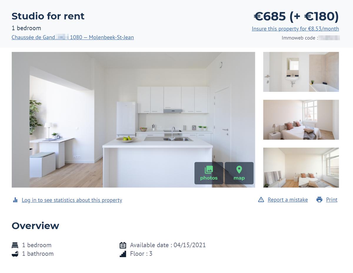 Меблированные апартаменты внеудачном районе Моленбек стоят всего 685€ вмесяц. Еще180€ придется отдавать закоммунальные услуги. Примерно такие же цены вдругих непрестижных районах. Источник: Immoweb