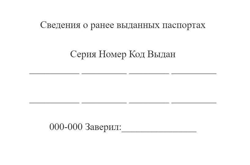 В штампе, нанесенным специальным принтером, указывается последовательно информация сразу о всех ранее выданных паспортах, как о внутренних, так и о заграничных