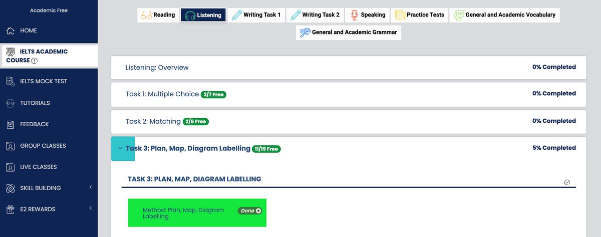 Чтобы найти бесплатные тесты наE2 Language, авторизуйтесь инажмите наIELTS Academic Course (подкнопкой Home)