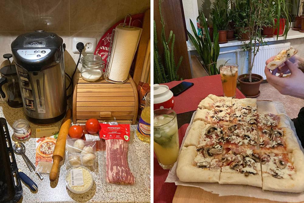 Домашняя пицца и безалкогольный апероль — читай «лимонад»