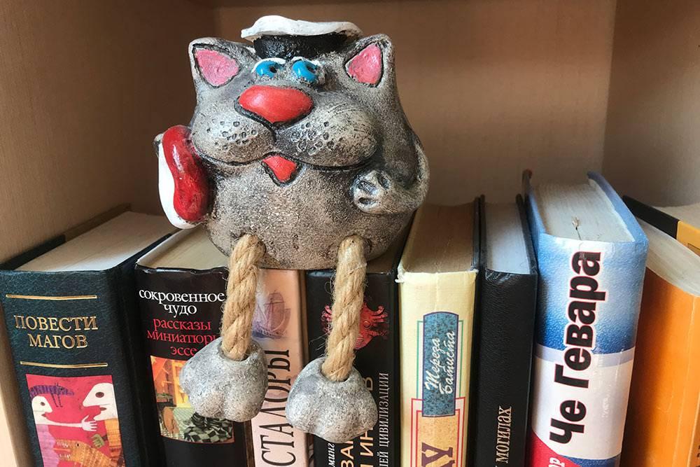 Теперь кот-матрос живет у меня на книжной полке