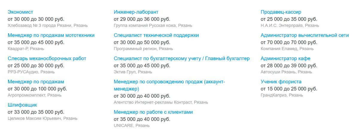 Вакансии дня в&nbsp;Рязани на&nbsp;«Хедхантере» — в&nbsp;среднем предлагают 25 000—35 000<span class=ruble>Р</span>