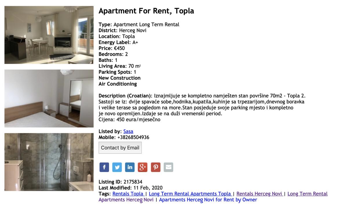 Квартира за 450€ в месяц в Херцег-Нови