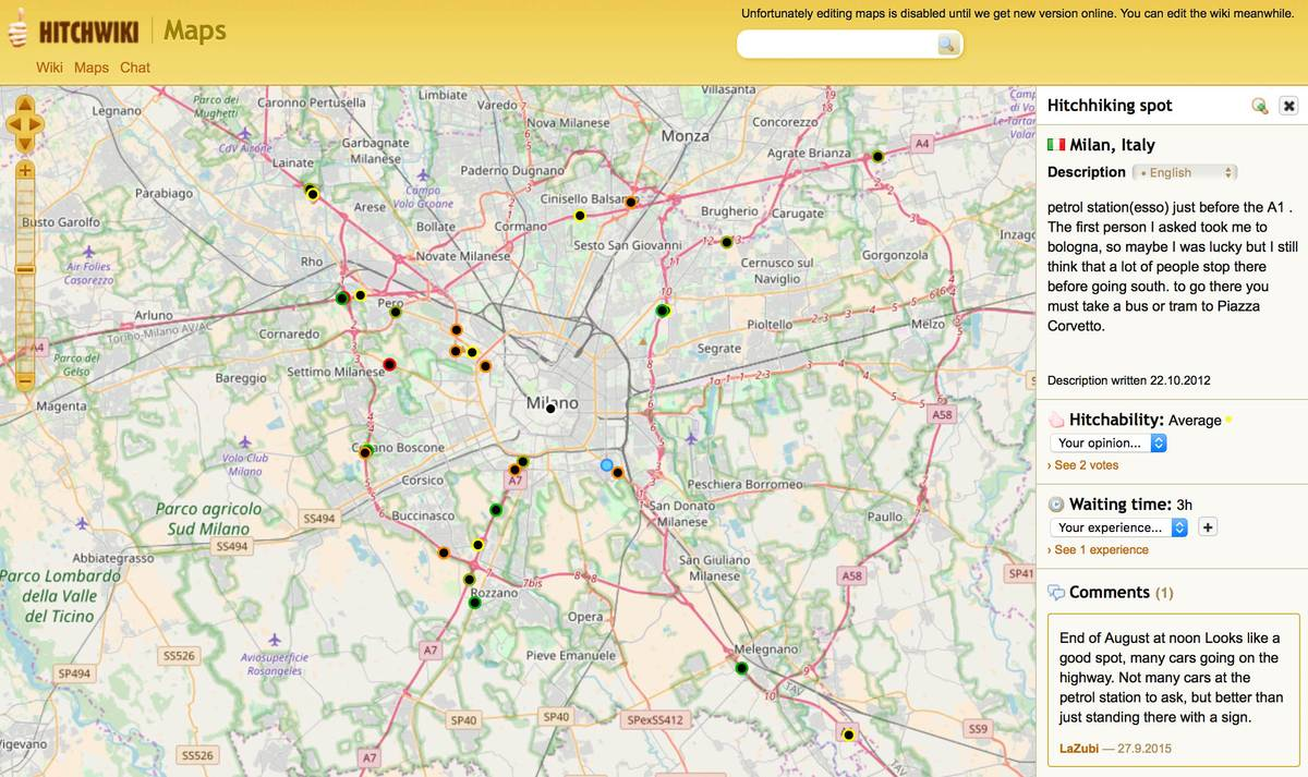 Карта выездов из Милана с комментариями автостопщиков. Зелеными точками обозначены удачные места для автостопа, а красными — неудачные