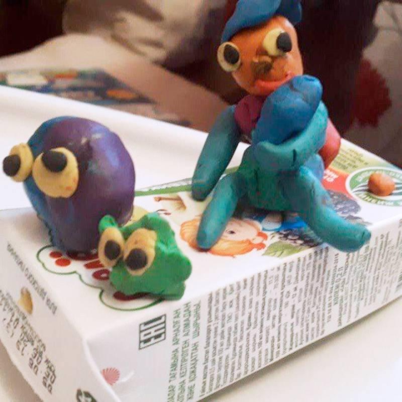 Сделали с сыном такие пластилиновые фигурки