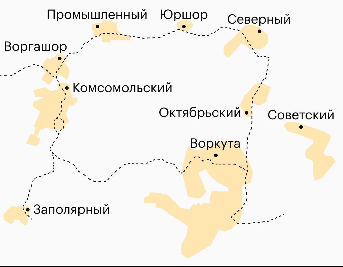 Так на карте выглядит воркутинское кольцо