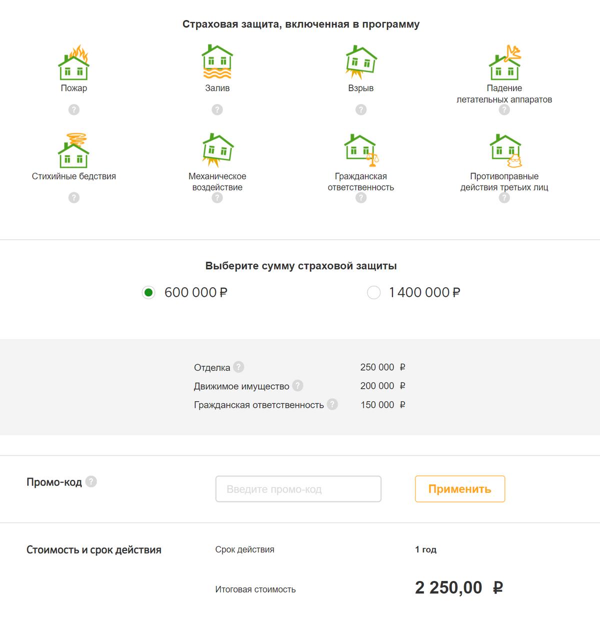 Годовой полис «Сбербанк-страхования» стоит 2250&nbsp;<span class=ruble>Р</span>. Если в&nbsp;квартире побывают воры, компания вернет до&nbsp;200&nbsp;000&nbsp;<span class=ruble>Р</span> за&nbsp;украденные вещи. Еще до&nbsp;250&nbsp;000&nbsp;<span class=ruble>Р</span> — за&nbsp;испорченный ремонт, например оторванные обои или отбитую плитку в ванной. А&nbsp;до&nbsp;150&nbsp;000&nbsp;<span class=ruble>Р</span> заплатят соседям, если вы, например, их затопите, — это называется страхованием гражданской ответственности