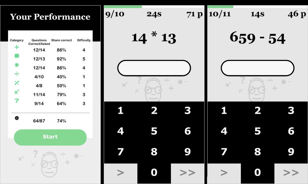 В 7 min Math Genius минималистичный интерфейс: самое главное происходит в голове пользователя, а не на экране смартфона