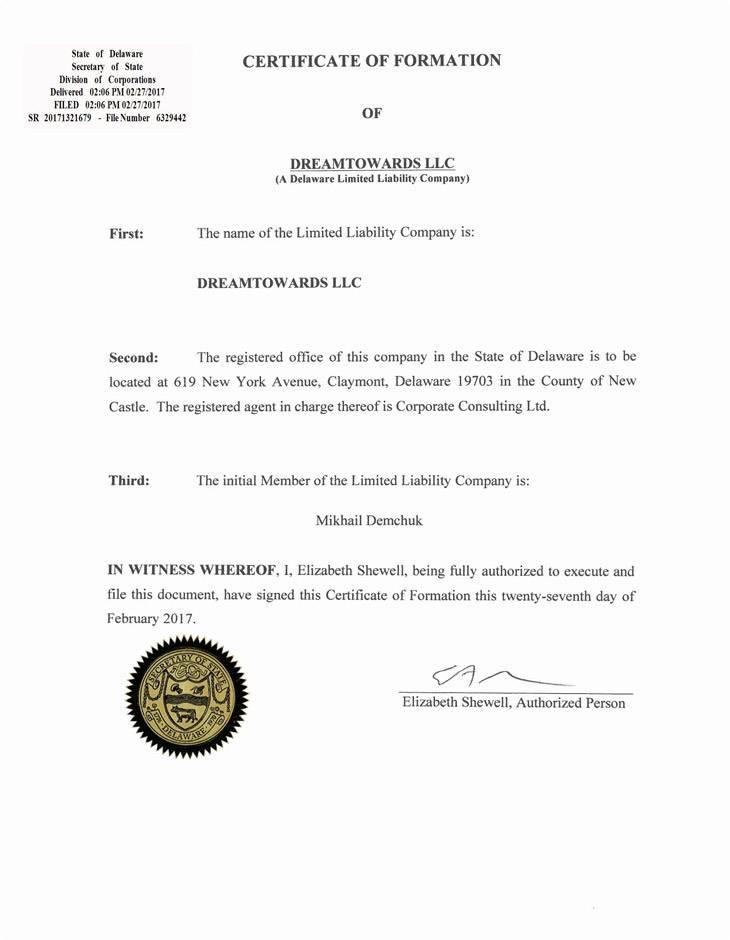 Судя по документу из личного кабинета, компания зарегистрирована в США
