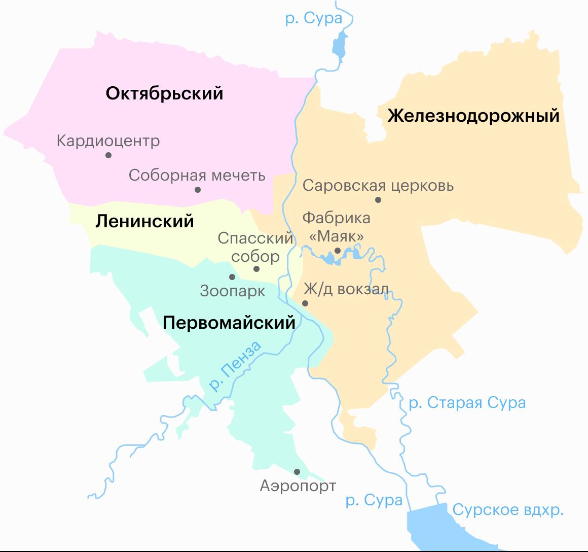 Районы Пензы