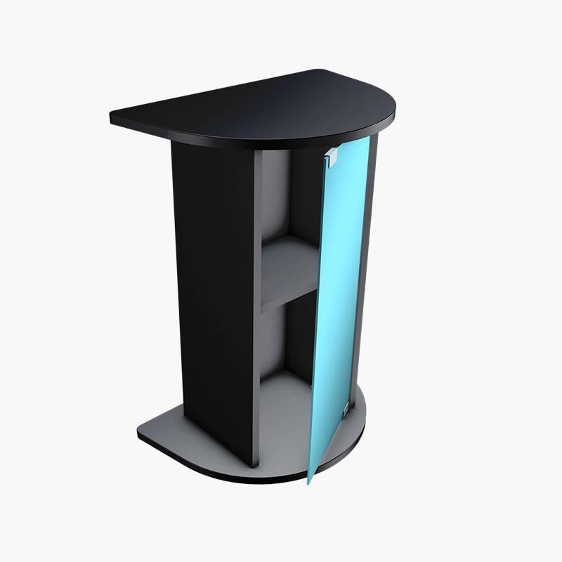 Примерно так выглядит подходящая дляаквариума тумба. Обычно ихделают изЛДСП — это защищенный отводы материал, нои он может разбухнуть, если вода будет долго стоять вшвах. Аеще вотдельной тумбе есть полки, где можно спрятать все принадлежности дляаквариума. Источник: tetra.net
