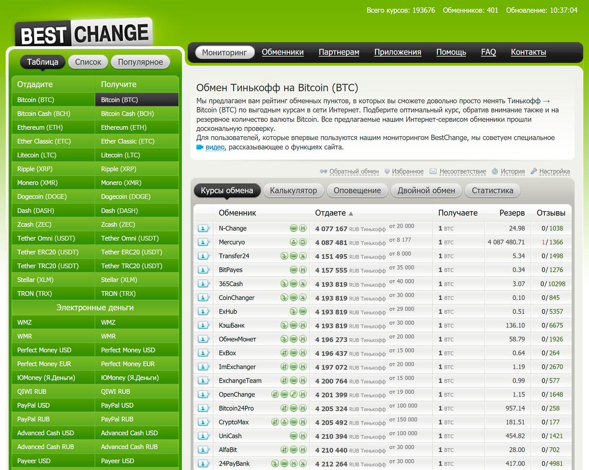 Выбор обменника на bestchange.ru