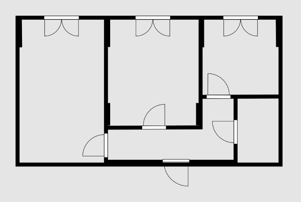 В монолитном или монолитно-кирпичном доме каркас держится всего на нескольких стенах и колоннах. На схеме они толще, чем остальные. На этой планировке несущие участки стен возле окон и пара колонн в маленькой комнате