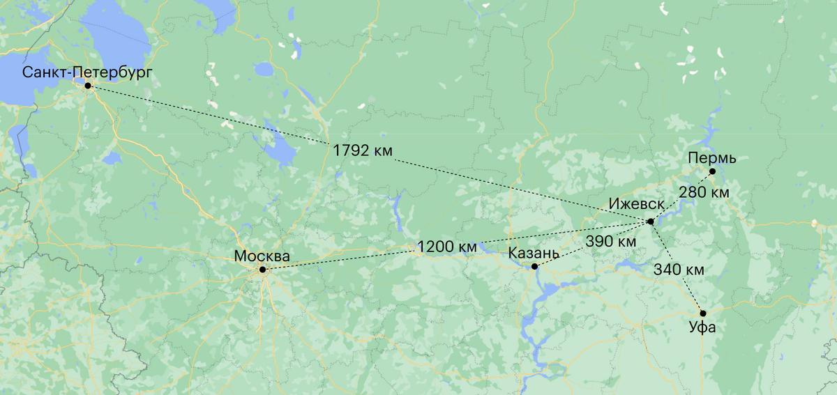 Расстояние от Ижевска до других крупных городов России