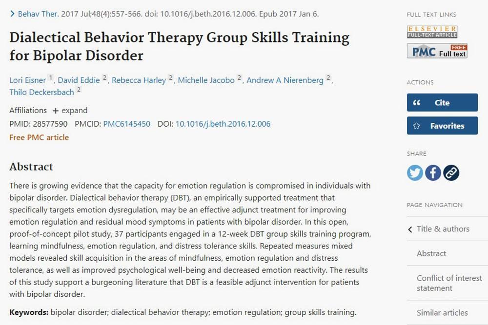 Я проверил на «Пабмеде»: DBT-терапия эффективна прибиполярном расстройстве, а у меня как раз оно