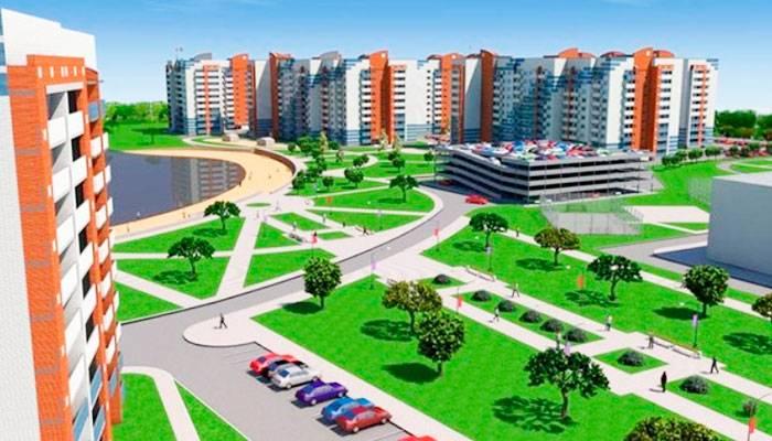 Компьютерная модель жилого комплекса, который нам понравился. На плане перед домами — здание ледового дворца и часть речного залива