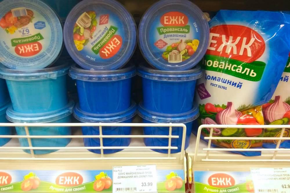 Цены на майонез ЕЖК в местном супермаркете «Кировский»