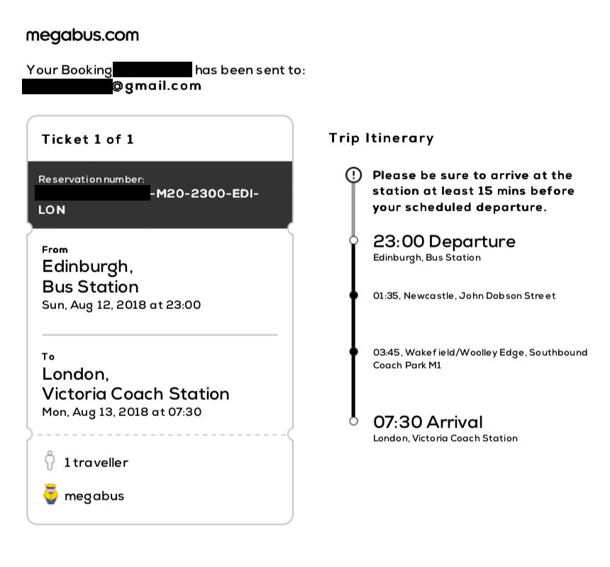 Билет на ночной автобус из Эдинбурга в Лондон. Компания просит приезжать на вокзал минимум за 15 минут до отправления