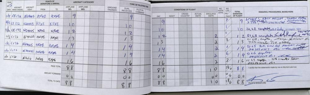 Так выглядит заполненная летная книжка. В нее заносят все выполненные учеником полеты: где взлетел и приземлился, сколько времени длился полет, днем или ночью, с инструктором или самостоятельно. Летная книжка — основной подтверждающий документ опыта пилота. Она нужна для сдачи экзаменов, перехода на следующую ступень обучения, приема на работу