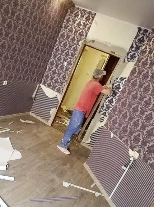 Квартира была в хорошем состоянии, но с откровенно дешевым и некачественным ремонтом: криво наклеенные обои, всего по две розетки на комнату на неудобной высоте, отваливающийся плинтус