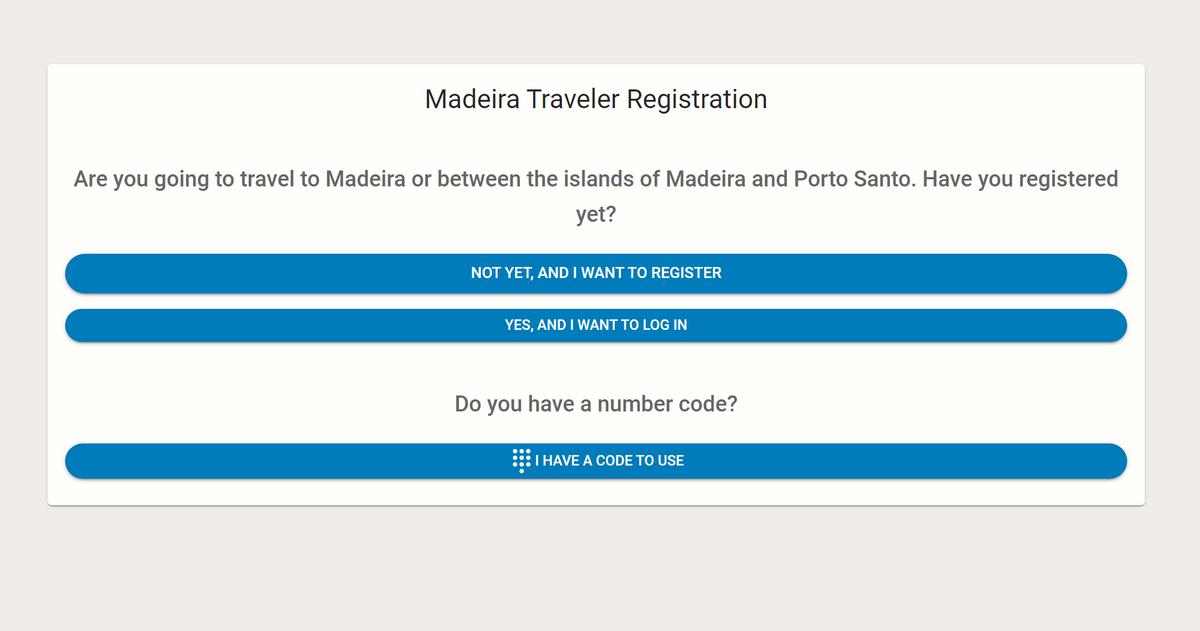 Так выглядит главная страница анкеты дляпосещения Мадейры