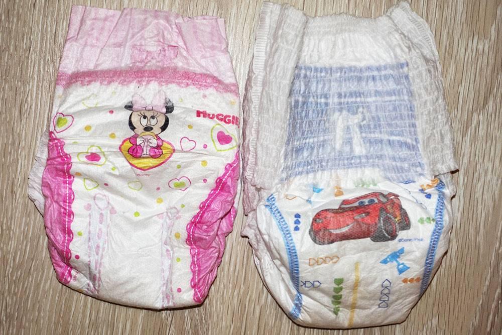 Подгузники длядевочек и мальчиков также отличаются дизайном