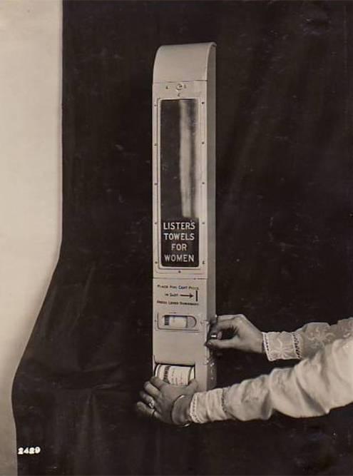 Диспенсер с прокладками «Джонсон и Джонсон», 1914год. Источник: Kilmer House