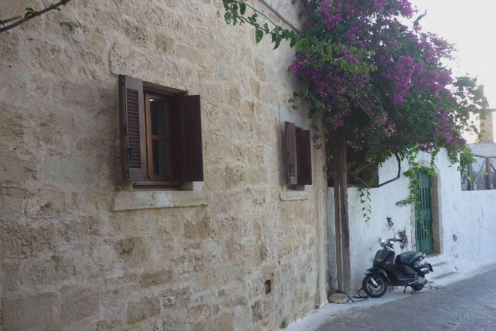 Это улица в нашей деревне Кутулуфари. Так выглядит настоящая Греция с узкими улочками в цветах. Дома в основном каменные или классические белые с синими дверями