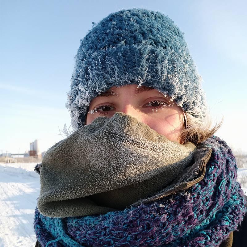 Так я выглядела в Воркуте. Ресницы постоянно покрывались льдом