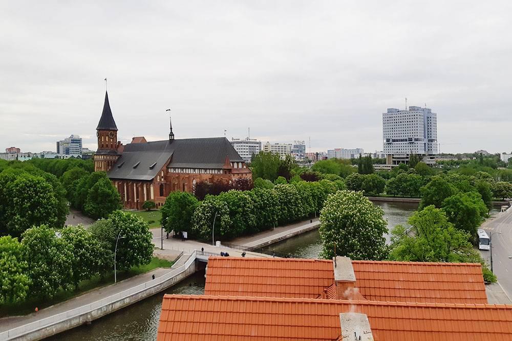 С католическим собором в центре Калининграда соседствуют обычные советские здания