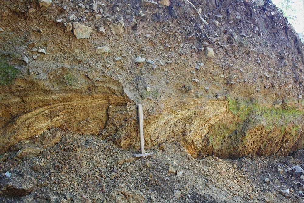 Золоторудные тела в канаве. Естьли там на самом деле золото или нет, определяет лаборатория по пробам геолога