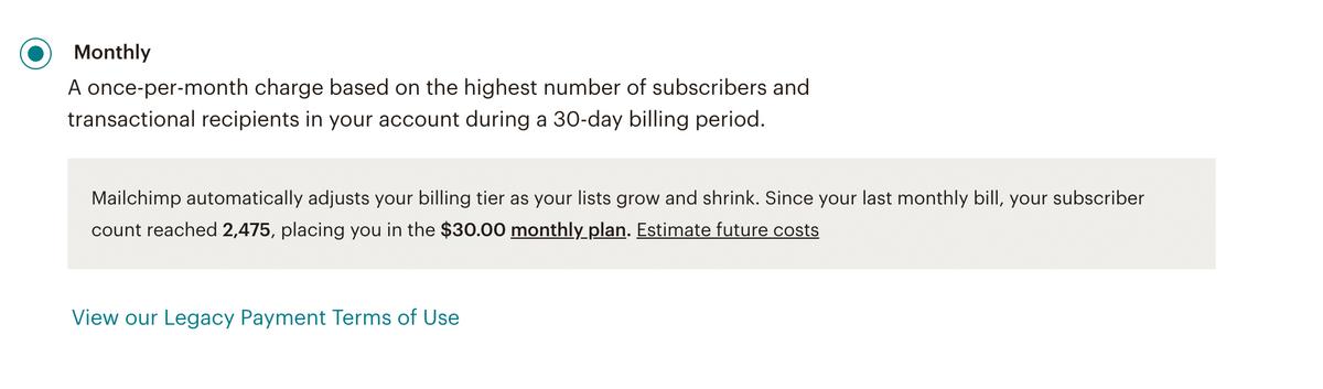 Плата за месяц считается по верхней границе числа подписчиков