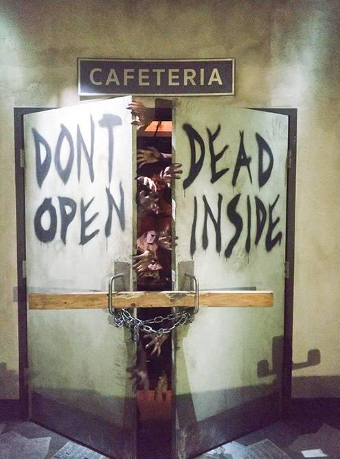 Комната страха по мотивам сериала «Ходячие мертвецы». На входе мерцает свет, раздаются резкие звуки, везде кровь и декорации из сериала. Сухие штанишки мне понадобились еще до начала аттракциона