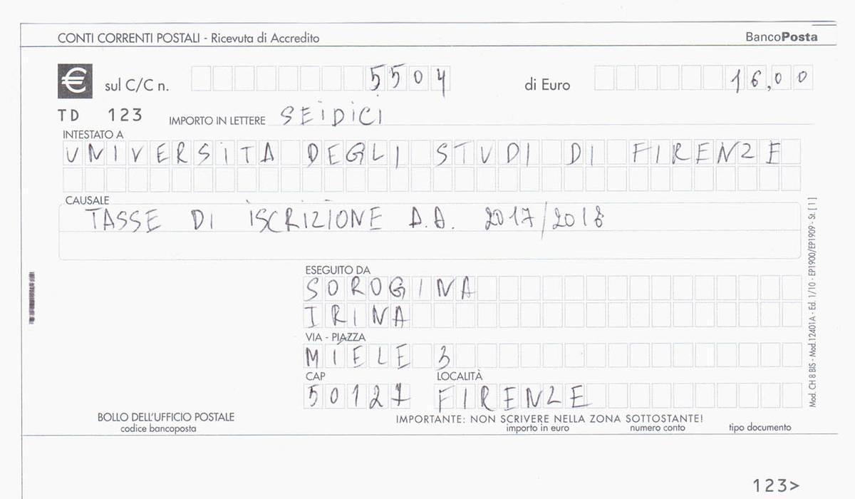 Квитанция на 16€ (1200<span class=ruble>Р</span>) — столько я платила за каждый учебный год