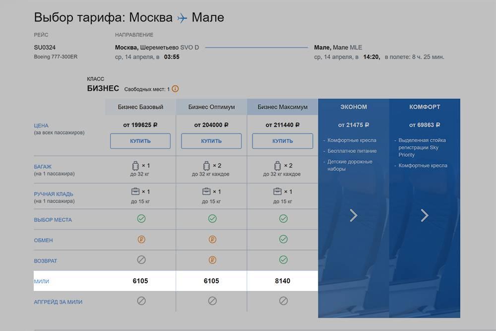 При&nbsp;перелете по тарифу «Бизнес-максимум» начислят 8140&nbsp;миль, но и билет тут стоит уже 211 440<span class=ruble>Р</span>