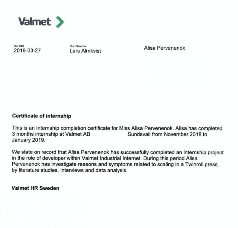 Мой сертификат о прохождении стажировки в компании Valmet