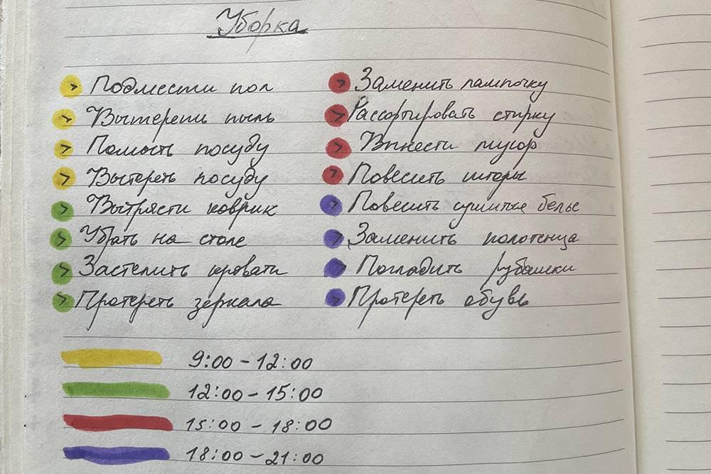 Так обычно выглядят мои планы: чтобы было проще сориентироваться в делах, я присваиваю определенный цвет каждому временному промежутку