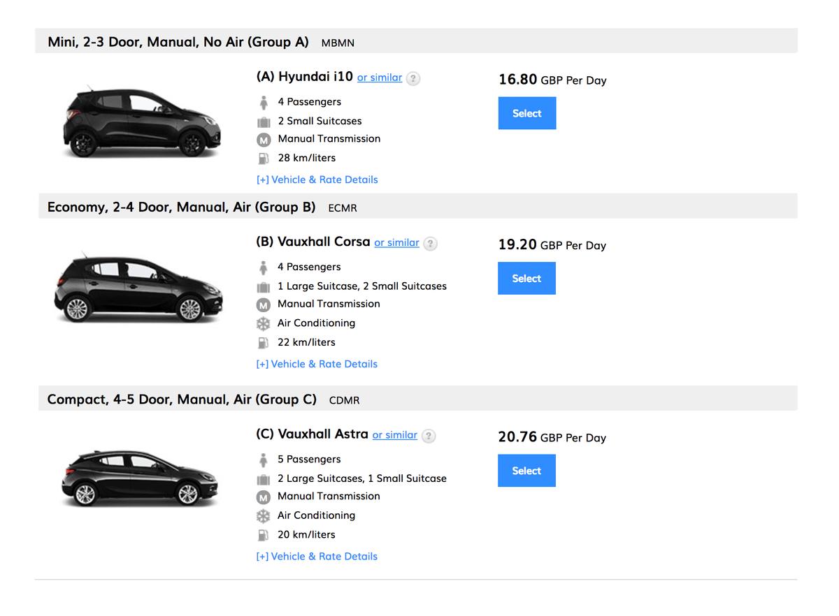Пример бронирования на 5 дней «из Аргентины». Автомобиль группы «А» стоит 9000<span class=ruble>Р</span>, «B» — 10 300<span class=ruble>Р</span>, «С» — 11 200<span class=ruble>Р</span>