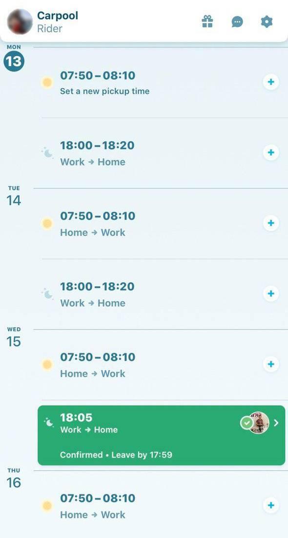 Интерфейс приложения карпула: я указываю свой рабочий и домашний адрес, а также время, когда мне надо ехать. Далее приложение показывает мне водителей, которые едут по томуже маршруту. Я отправляю им запрос на поездку, а они решают, подвезти меня или отказаться