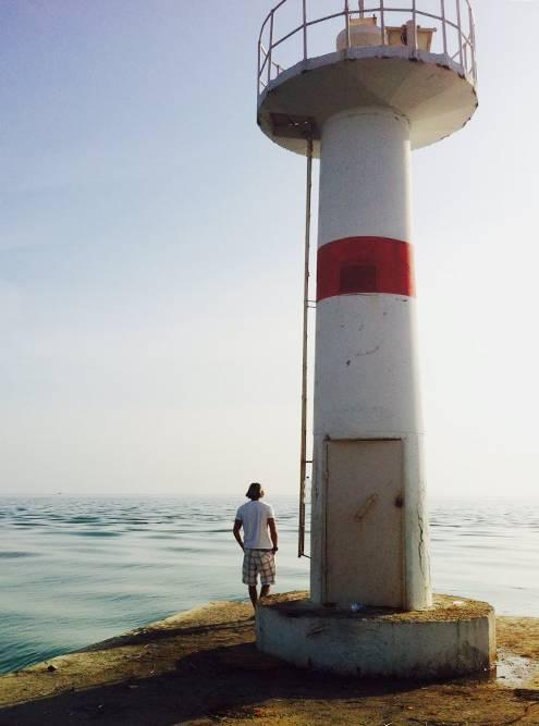 Маяк вместе, где река Манавгат впадает вСредиземное море